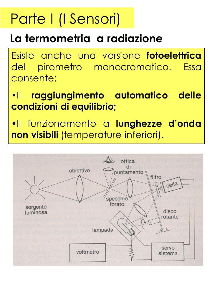 Parte I (I Sensori) La termometria a radiazione Esiste anche una versione fotoelettrica del pirometro monocromatico. Essa consente: Il raggiungimento