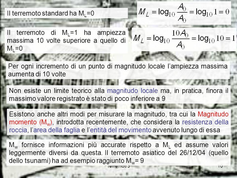 Terremoti 310 Il terremoto standard ha M L =0 Il terremoto di M L =1 ha ampiezza massima 10 volte superiore a quello di M L =0 Non esiste un limite te