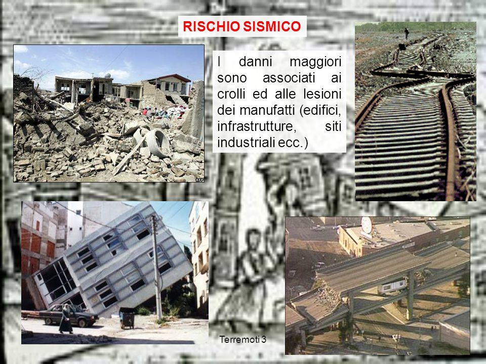 Terremoti 314 RISCHIO SISMICO I danni maggiori sono associati ai crolli ed alle lesioni dei manufatti (edifici, infrastrutture, siti industriali ecc.)