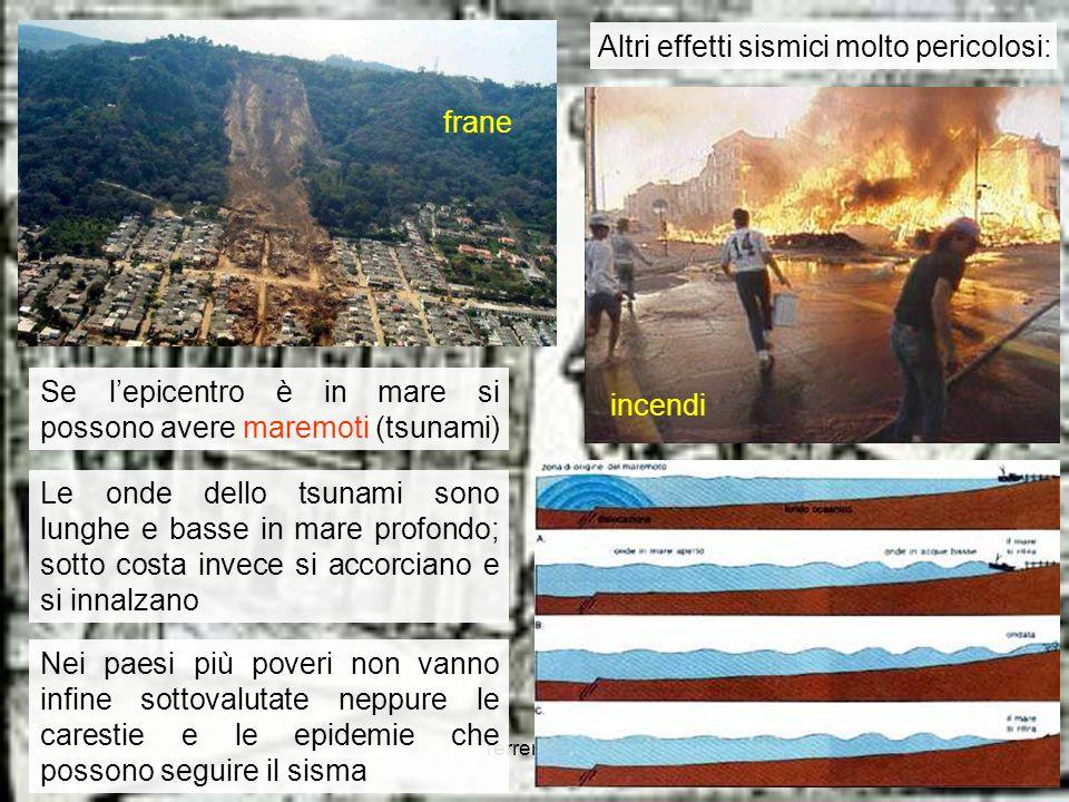 Terremoti 315 Altri effetti sismici molto pericolosi: incendi frane Se lepicentro è in mare si possono avere maremoti (tsunami) Le onde dello tsunami
