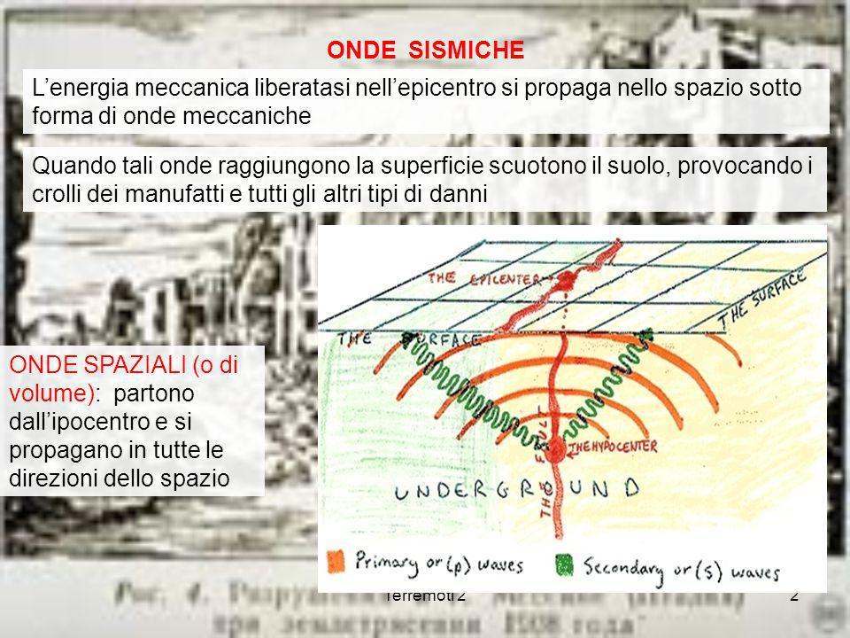 Terremoti 22 ONDE SISMICHE Lenergia meccanica liberatasi nellepicentro si propaga nello spazio sotto forma di onde meccaniche Quando tali onde raggiun