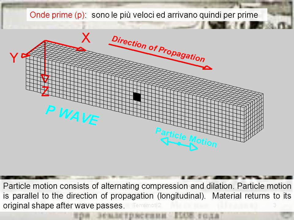 Terremoti 23 Particle motion consists of alternating compression and dilation. Particle motion is parallel to the direction of propagation (longitudin