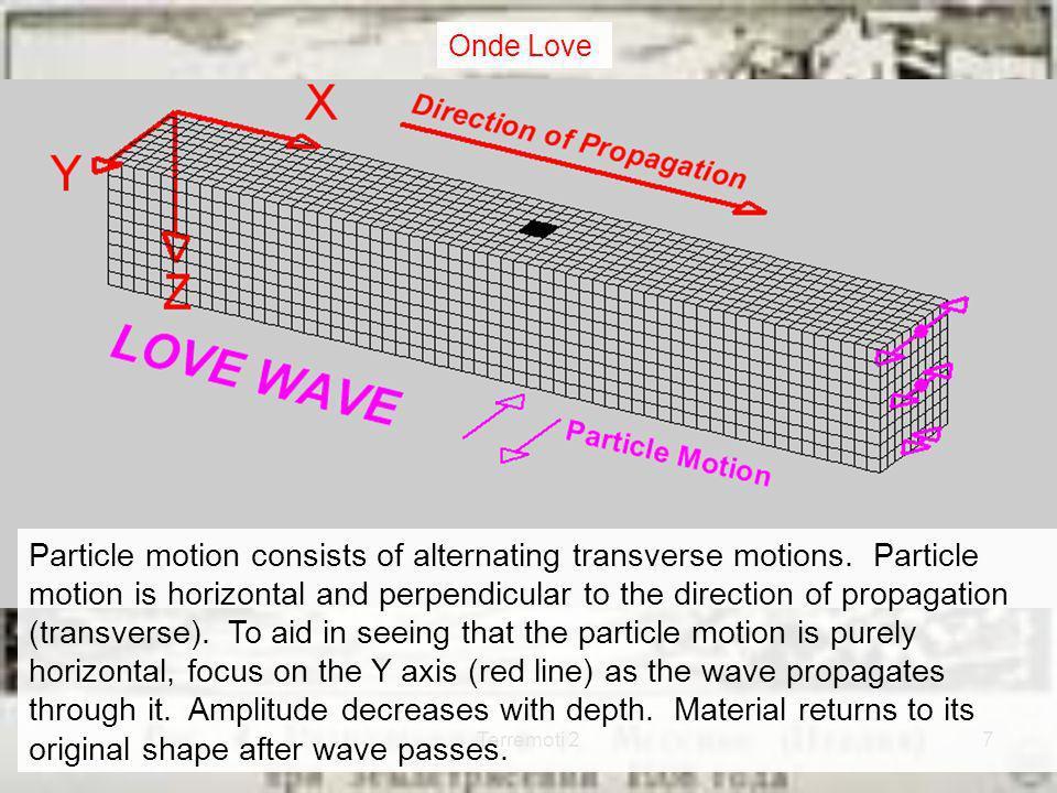 Terremoti 28 Le onde superficiali provocano nel suolo scosse ondulatorie, con prevalente movimento orizzontale I manufatti convenzionali non sono costruiti per sopportare sforzi orizzontali Le onde superficiali hanno ampiezza maggiore di quelle spaziali Le onde superficiali provocano la maggior parte dei danni Riassumendo