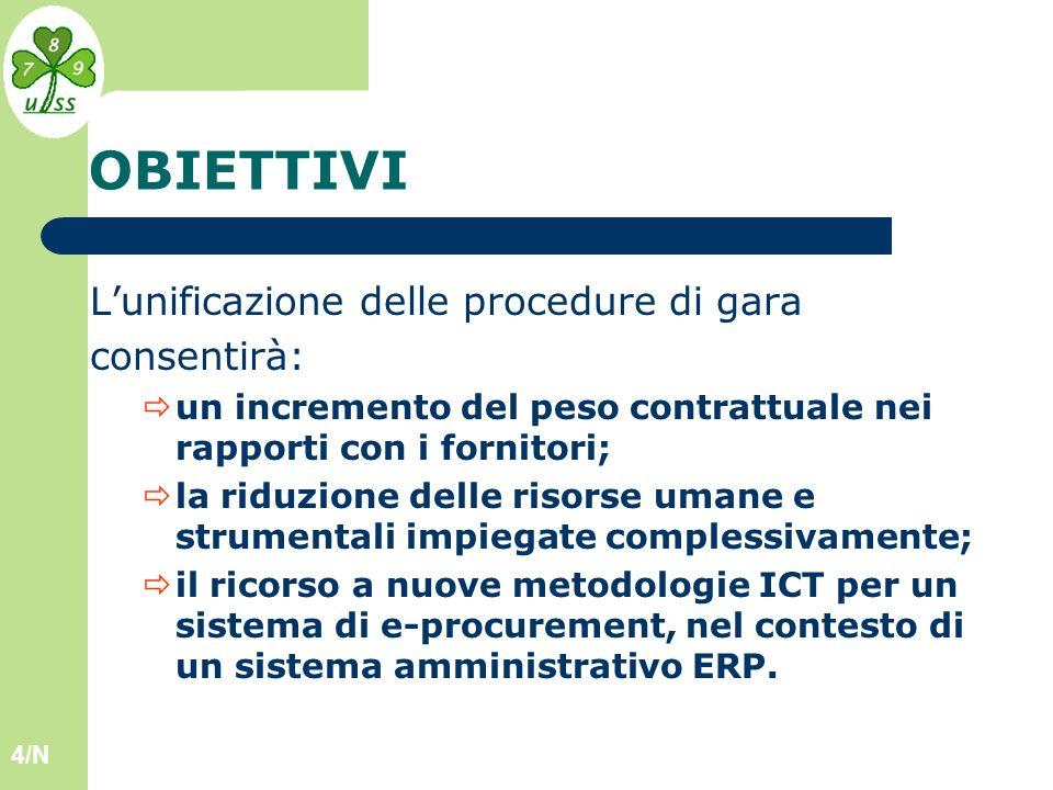 4/N OBIETTIVI Lunificazione delle procedure di gara consentirà: un incremento del peso contrattuale nei rapporti con i fornitori; la riduzione delle risorse umane e strumentali impiegate complessivamente; il ricorso a nuove metodologie ICT per un sistema di e-procurement, nel contesto di un sistema amministrativo ERP.