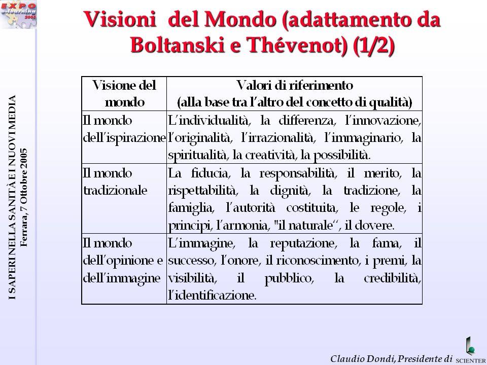 I SAPERI NELLA SANITÀ E I NUOVI MEDIA Ferrara, 7 Ottobre 2005 Claudio Dondi, Presidente di Visioni del Mondo (adattamento da Boltanski e Thévenot) (1/2)