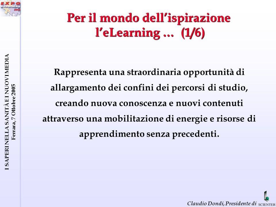 I SAPERI NELLA SANITÀ E I NUOVI MEDIA Ferrara, 7 Ottobre 2005 Claudio Dondi, Presidente di EFQUEL Workplan (2/4)