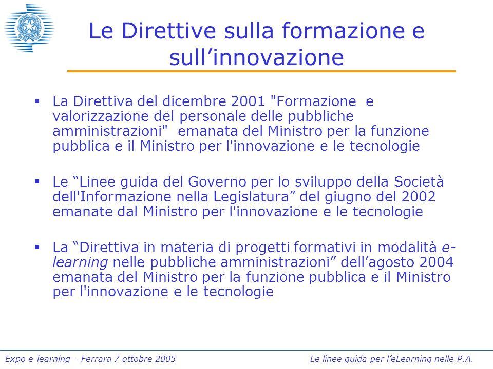 Expo e-learning – Ferrara 7 ottobre 2005 Le linee guida per leLearning nelle P.A. Le Direttive sulla formazione e sullinnovazione La Direttiva del dic