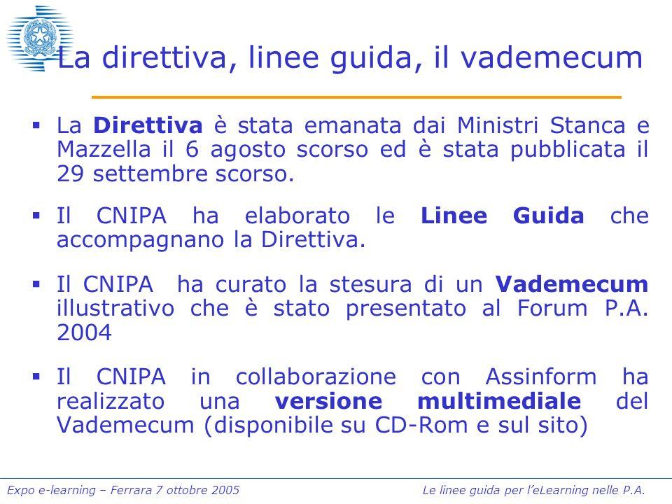 Expo e-learning – Ferrara 7 ottobre 2005 Le linee guida per leLearning nelle P.A. La direttiva, linee guida, il vademecum La Direttiva è stata emanata