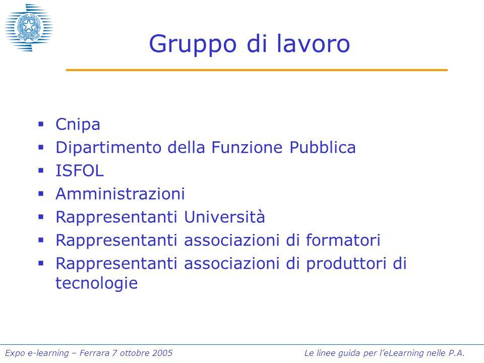 Expo e-learning – Ferrara 7 ottobre 2005 Le linee guida per leLearning nelle P.A. Gruppo di lavoro Cnipa Dipartimento della Funzione Pubblica ISFOL Am