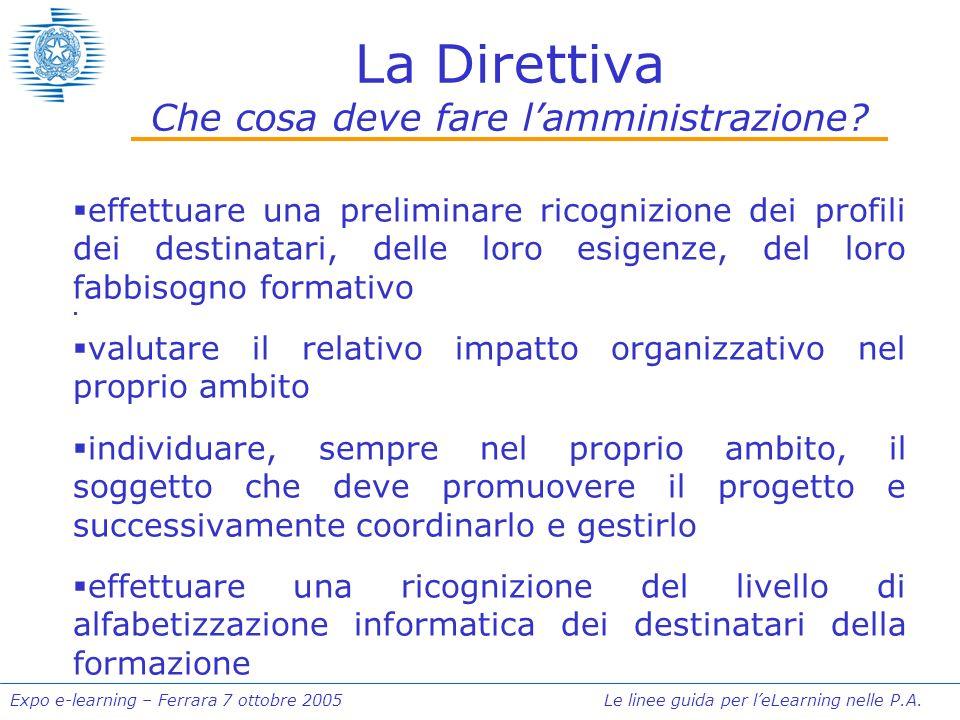 Expo e-learning – Ferrara 7 ottobre 2005 Le linee guida per leLearning nelle P.A. La Direttiva Che cosa deve fare lamministrazione? effettuare una pre