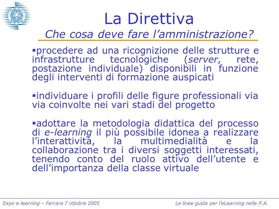 Expo e-learning – Ferrara 7 ottobre 2005 Le linee guida per leLearning nelle P.A. La Direttiva Che cosa deve fare lamministrazione? procedere ad una r
