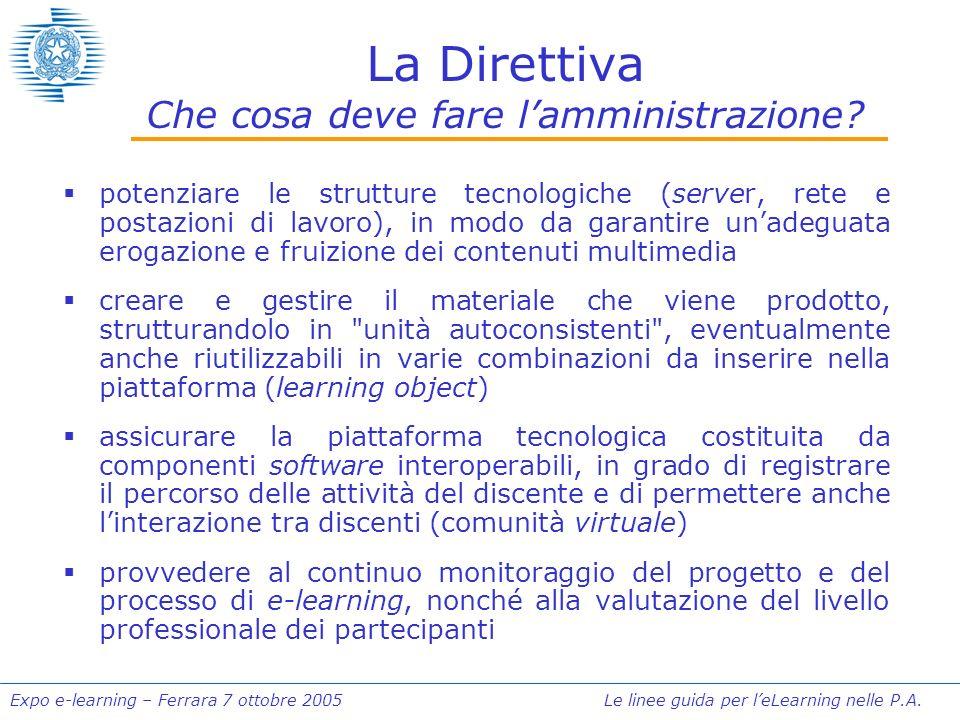 Expo e-learning – Ferrara 7 ottobre 2005 Le linee guida per leLearning nelle P.A. La Direttiva Che cosa deve fare lamministrazione? potenziare le stru