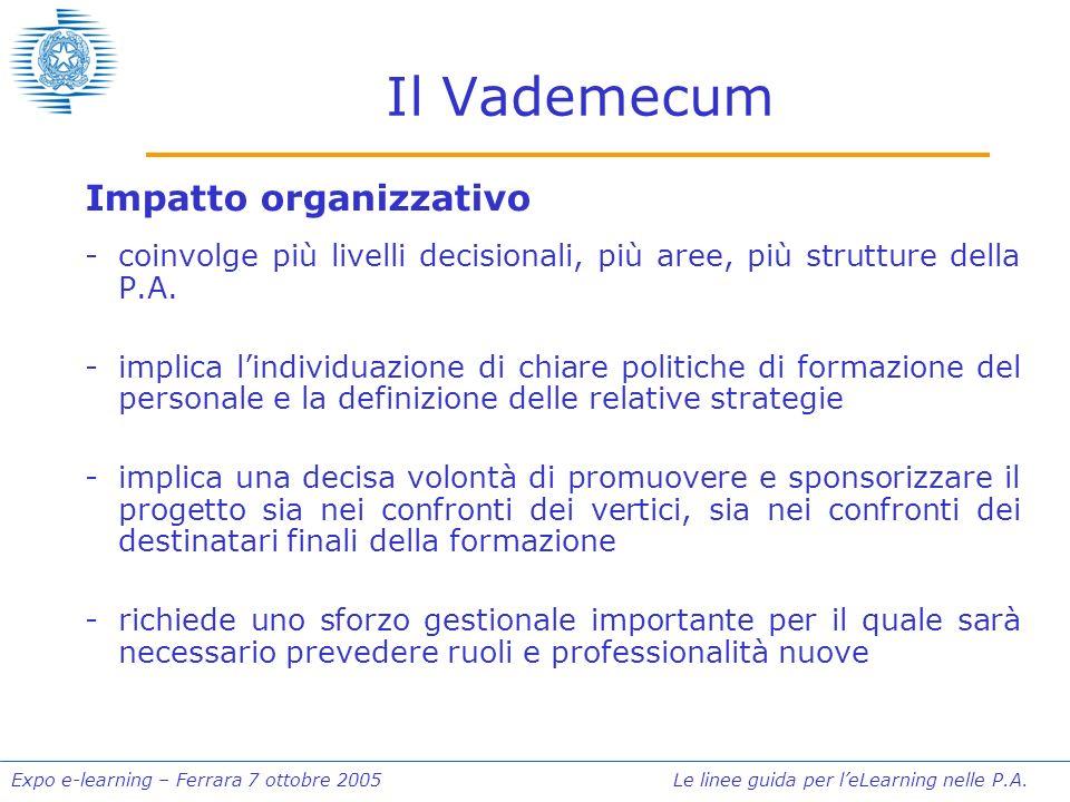 Expo e-learning – Ferrara 7 ottobre 2005 Le linee guida per leLearning nelle P.A. Il Vademecum Impatto organizzativo -coinvolge più livelli decisional