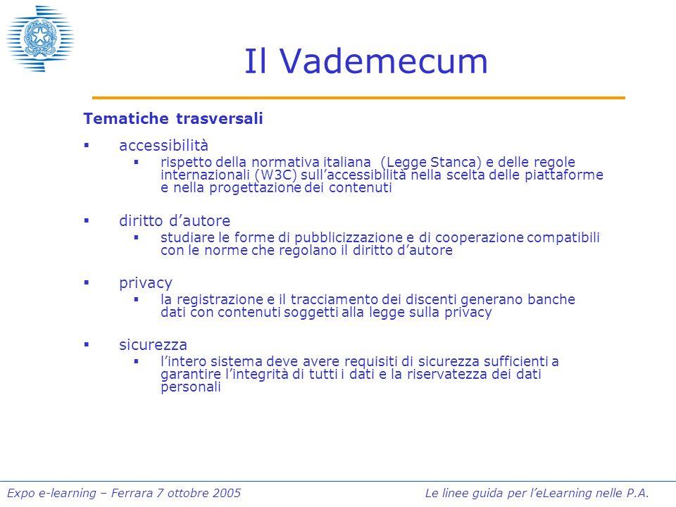 Expo e-learning – Ferrara 7 ottobre 2005 Le linee guida per leLearning nelle P.A. Il Vademecum Tematiche trasversali accessibilità rispetto della norm