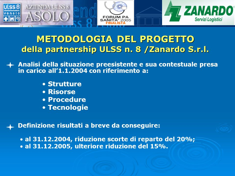 METODOLOGIA DEL PROGETTO della partnership ULSS n. 8 /Zanardo S.r.l. Analisi della situazione preesistente e sua contestuale presa in carico all1.1.20