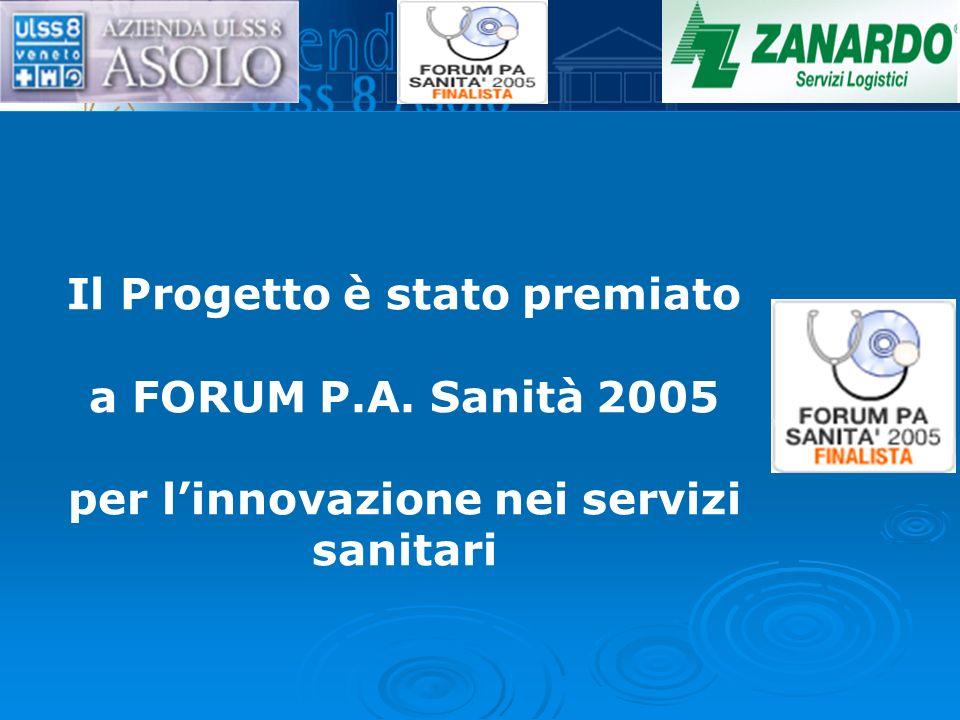 Il Progetto è stato premiato a FORUM P.A. Sanità 2005 per linnovazione nei servizi sanitari