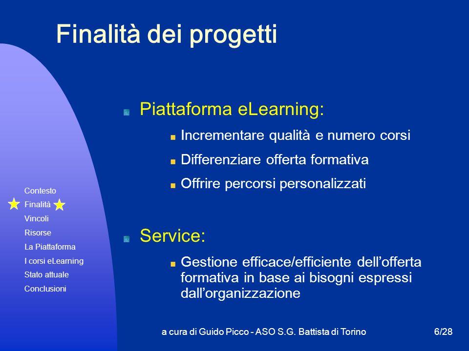Contesto Finalità Vincoli Risorse La Piattaforma I corsi eLearning Stato attuale Conclusioni a cura di Guido Picco - ASO S.G. Battista di Torino6/28 F