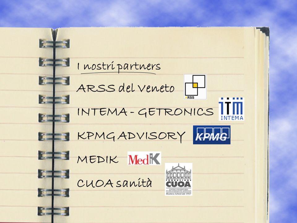 I nostri partners ARSS del Veneto INTEMA - GETRONICS KPMG ADVISORY MEDIK CUOA sanità