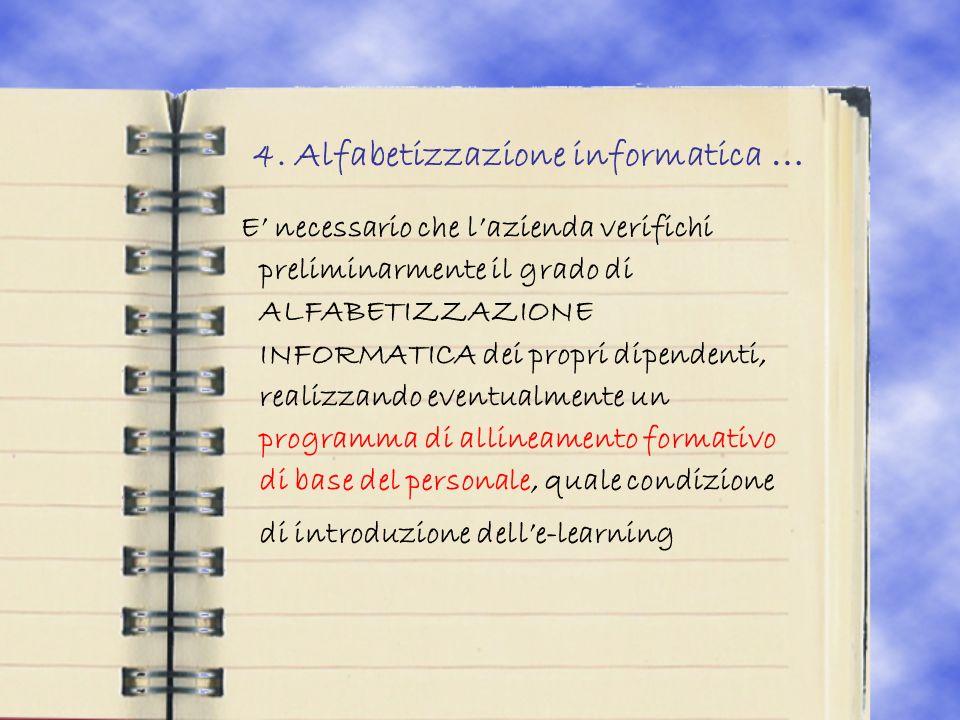 4. Alfabetizzazione informatica … E necessario che lazienda verifichi preliminarmente il grado di ALFABETIZZAZIONE INFORMATICA dei propri dipendenti,