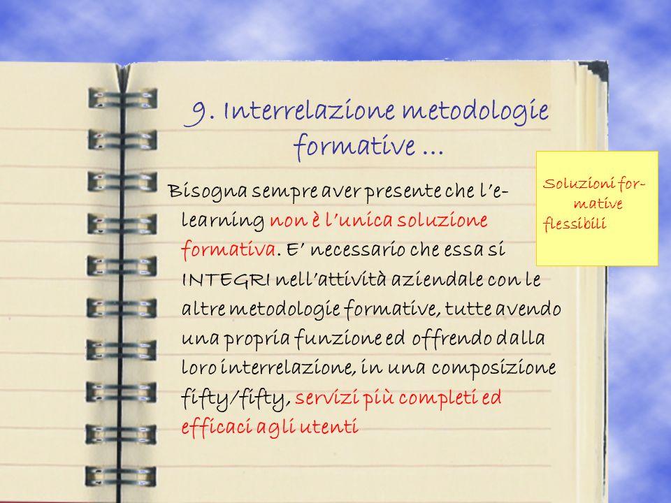 9. Interrelazione metodologie formative … Bisogna sempre aver presente che le- learning non è lunica soluzione formativa. E necessario che essa si INT