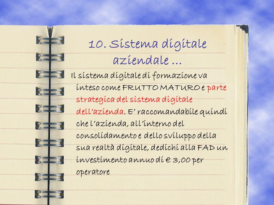 10. Sistema digitale aziendale … Il sistema digitale di formazione va inteso come FRUTTO MATURO e parte strategica del sistema digitale dellazienda. E