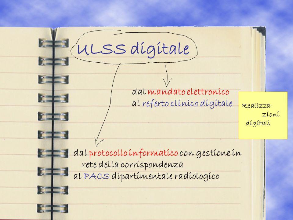 ULSS digitale dal mandato elettronico al referto clinico digitale dal protocollo informatico con gestione in rete della corrispondenza al PACS dipartimentale radiologico Realizza- zioni digitali