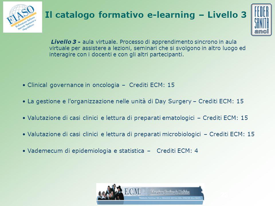 22 Il catalogo formativo e-learning – Livello 3 Livello 3 - aula virtuale.