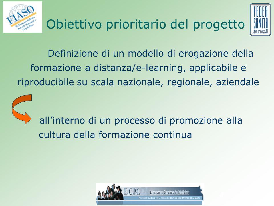 4 Obiettivo prioritario del progetto Definizione di un modello di erogazione della formazione a distanza/e-learning, applicabile e riproducibile su scala nazionale, regionale, aziendale allinterno di un processo di promozione alla cultura della formazione continua