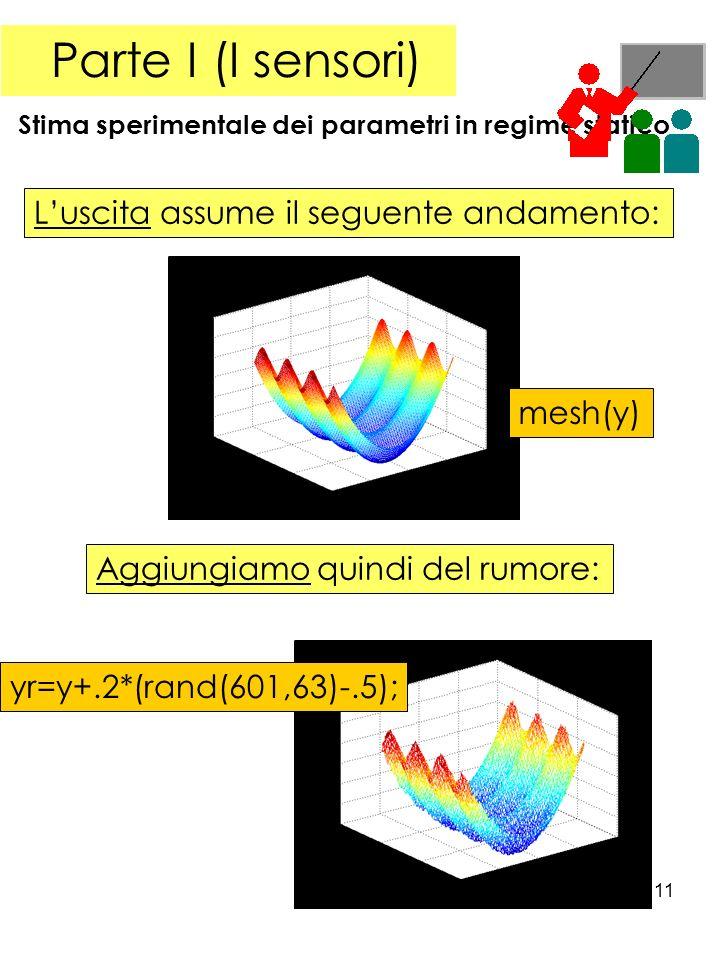 11 Parte I (I sensori) Stima sperimentale dei parametri in regime statico Luscita assume il seguente andamento: mesh(y) Aggiungiamo quindi del rumore: yr=y+.2*(rand(601,63)-.5);