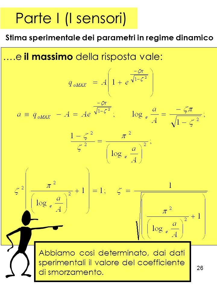 26 Parte I (I sensori) Stima sperimentale dei parametri in regime dinamico ….e il massimo della risposta vale: Abbiamo cosi determinato, dai dati sperimentali il valore del coefficiente di smorzamento.