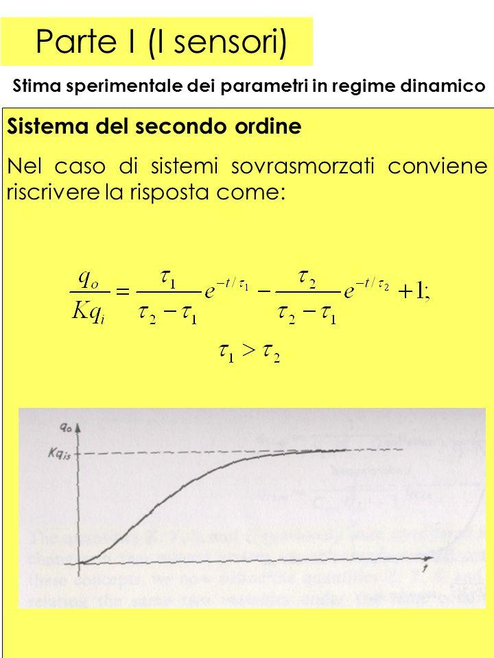 28 Parte I (I sensori) Stima sperimentale dei parametri in regime dinamico Sistema del secondo ordine Nel caso di sistemi sovrasmorzati conviene riscrivere la risposta come: