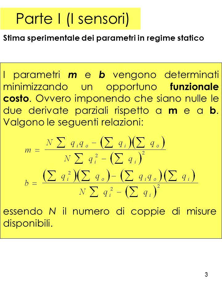 3 Parte I (I sensori) Stima sperimentale dei parametri in regime statico I parametri m e b vengono determinati minimizzando un opportuno funzionale costo.
