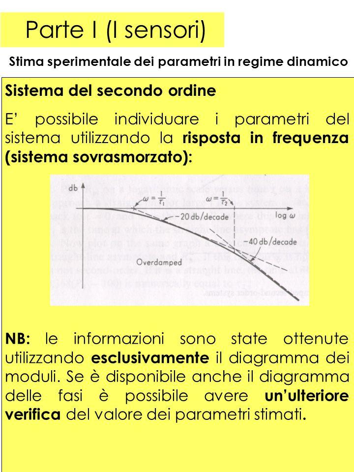 33 Parte I (I sensori) Stima sperimentale dei parametri in regime dinamico Sistema del secondo ordine E possibile individuare i parametri del sistema utilizzando la risposta in frequenza (sistema sovrasmorzato): NB: le informazioni sono state ottenute utilizzando esclusivamente il diagramma dei moduli.