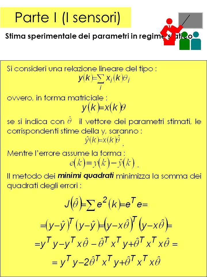 8 Parte I (I sensori) Stima sperimentale dei parametri in regime statico