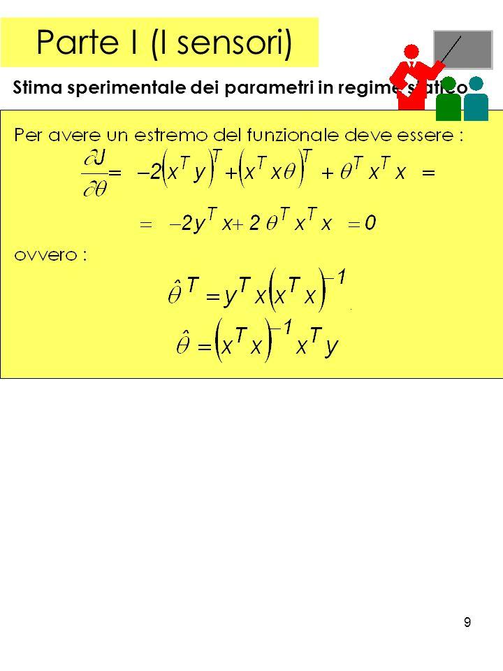 9 Parte I (I sensori) Stima sperimentale dei parametri in regime statico