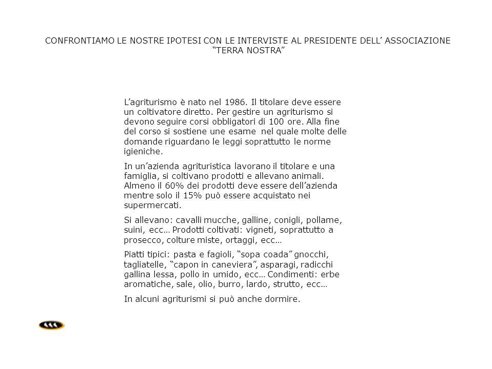 CONFRONTIAMO LE NOSTRE IPOTESI CON LE INTERVISTE AL PRESIDENTE DELL ASSOCIAZIONE TERRA NOSTRA Lagriturismo è nato nel 1986. Il titolare deve essere un
