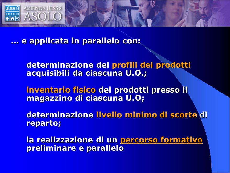 … e applicata in parallelo con: determinazione dei profili dei prodotti acquisibili da ciascuna U.O.; inventario fisico dei prodotti presso il magazzi
