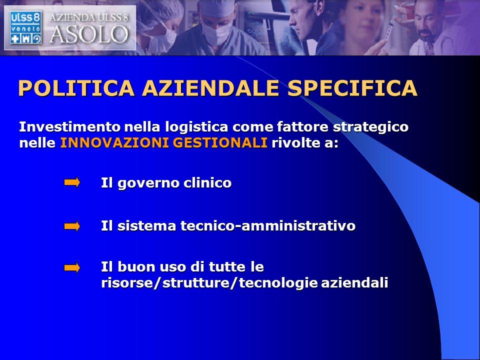 POLITICA AZIENDALE SPECIFICA Tema prioritario è, quindi, nel contesto di una reingegnerizzazione di tutta lattività di magazzino (magazzino centrale e magazzino di tutte le unità operative dei due ospedali di Castelfranco Veneto e Montebelluna, dei distretti, del dipartimento di prevenzione e delle 14 case di riposo) una nuova LOGISTICA DEL FARMACO.