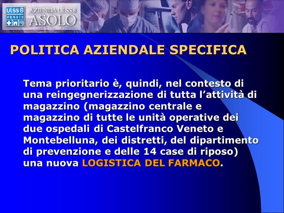 POLITICA AZIENDALE SPECIFICA Tema prioritario è, quindi, nel contesto di una reingegnerizzazione di tutta lattività di magazzino (magazzino centrale e