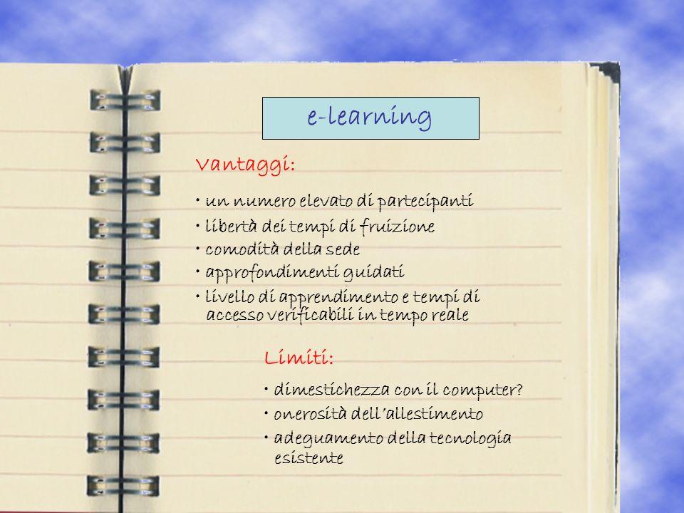 e-learning Vantaggi: un numero elevato di partecipanti libertà dei tempi di fruizione comodità della sede approfondimenti guidati livello di apprendimento e tempi di accesso verificabili in tempo reale Limiti: dimestichezza con il computer.