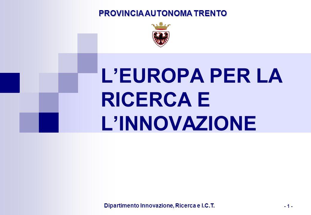 PROVINCIA AUTONOMA TRENTO Dipartimento Innovazione, Ricerca e I.C.T. - 1 - LEUROPA PER LA RICERCA E LINNOVAZIONE