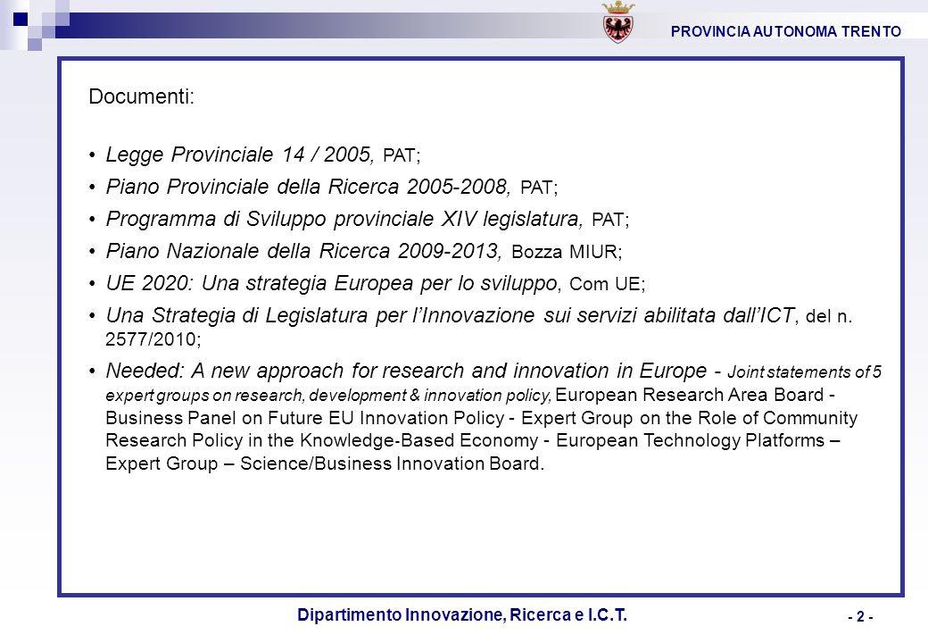 PROVINCIA AUTONOMA TRENTO Dipartimento Innovazione, Ricerca e I.C.T. - 2 - Documenti: Legge Provinciale 14 / 2005, PAT; Piano Provinciale della Ricerc