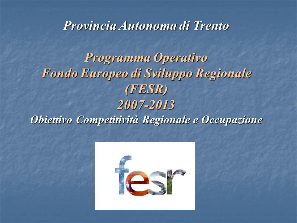 Provincia Autonoma di Trento Programma Operativo Fondo Europeo di Sviluppo Regionale (FESR)2007-2013 Obiettivo Competitività Regionale e Occupazione