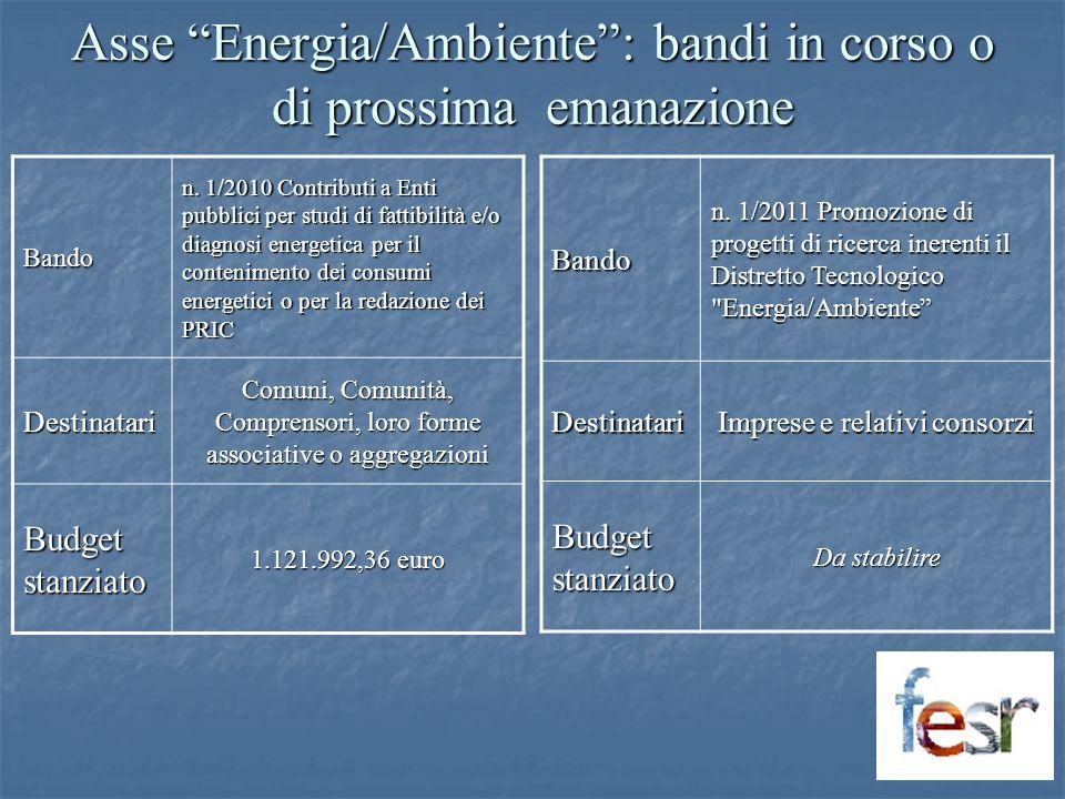 Asse Energia/Ambiente: bandi in corso o di prossima emanazione Bando n. 1/2010 Contributi a Enti pubblici per studi di fattibilità e/o diagnosi energe
