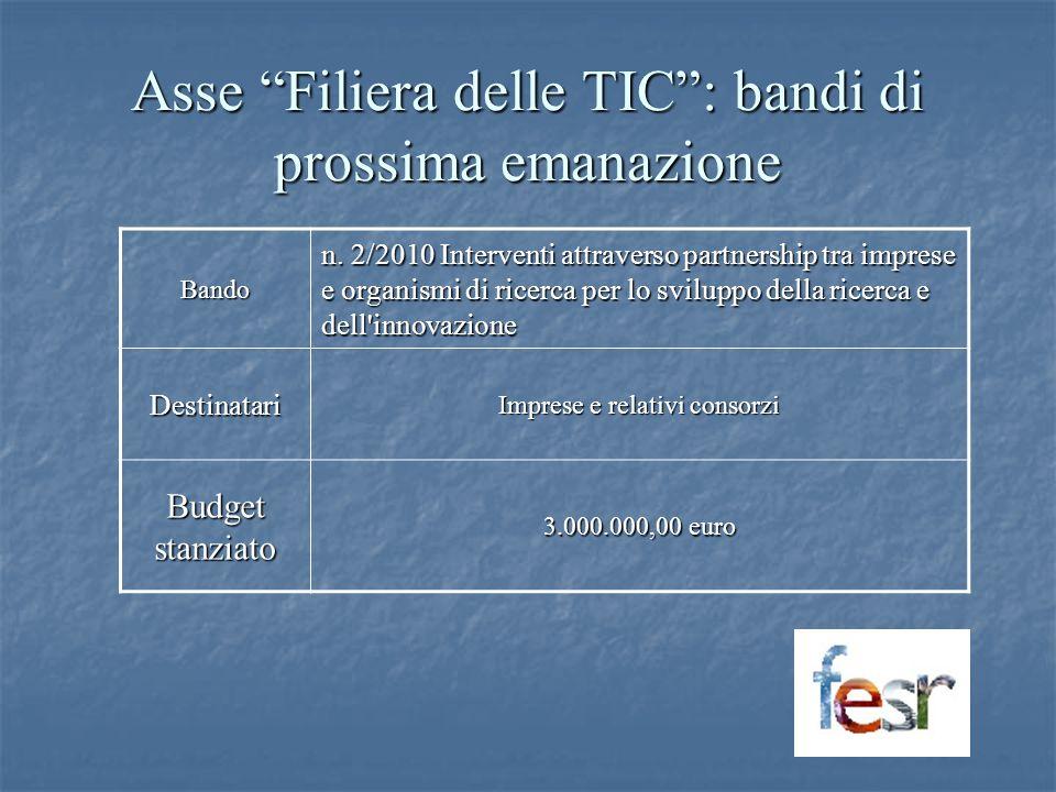Asse Filiera delle TIC: bandi di prossima emanazione Bando n. 2/2010 Interventi attraverso partnership tra imprese e organismi di ricerca per lo svilu