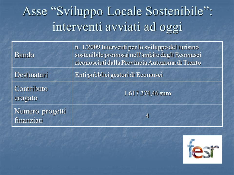 Asse Sviluppo Locale Sostenibile: interventi avviati ad oggi Bando n. 1/2009 Interventi per lo sviluppo del turismo sostenibile promossi nell'ambito d