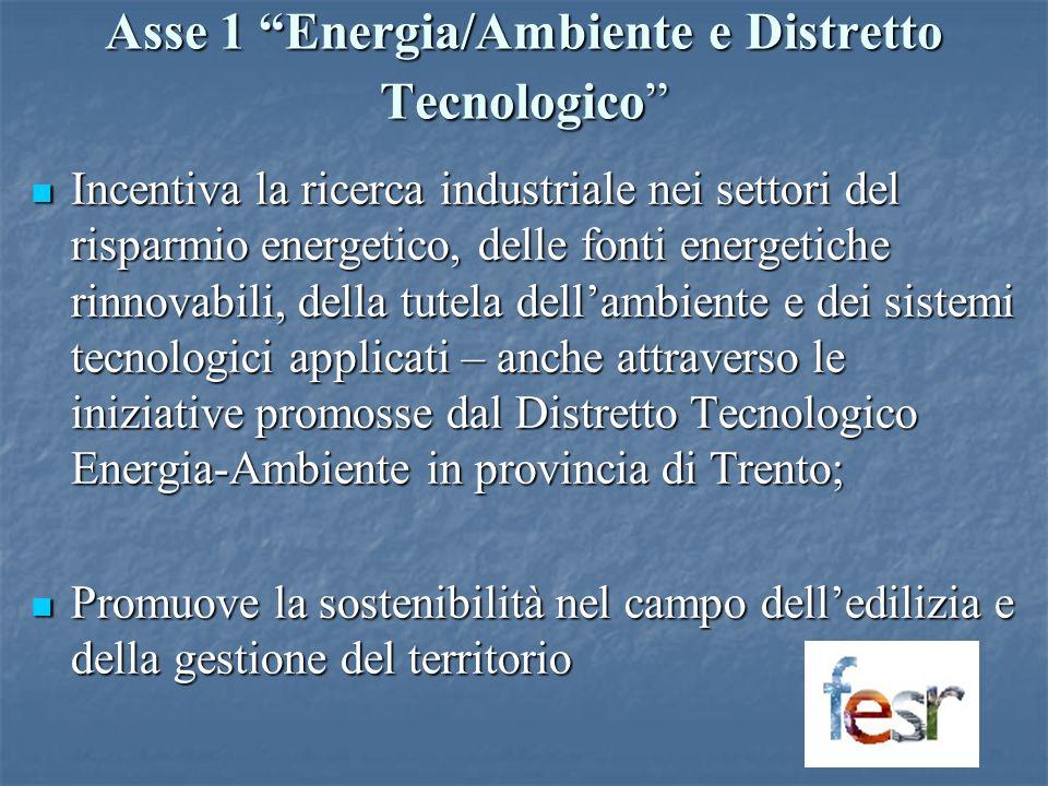 Asse 1 Energia/Ambiente e Distretto Tecnologico Incentiva la ricerca industriale nei settori del risparmio energetico, delle fonti energetiche rinnovabili, della tutela dellambiente e dei sistemi tecnologici applicati – anche attraverso le iniziative promosse dal Distretto Tecnologico Energia-Ambiente in provincia di Trento; Incentiva la ricerca industriale nei settori del risparmio energetico, delle fonti energetiche rinnovabili, della tutela dellambiente e dei sistemi tecnologici applicati – anche attraverso le iniziative promosse dal Distretto Tecnologico Energia-Ambiente in provincia di Trento; Promuove la sostenibilità nel campo delledilizia e della gestione del territorio Promuove la sostenibilità nel campo delledilizia e della gestione del territorio