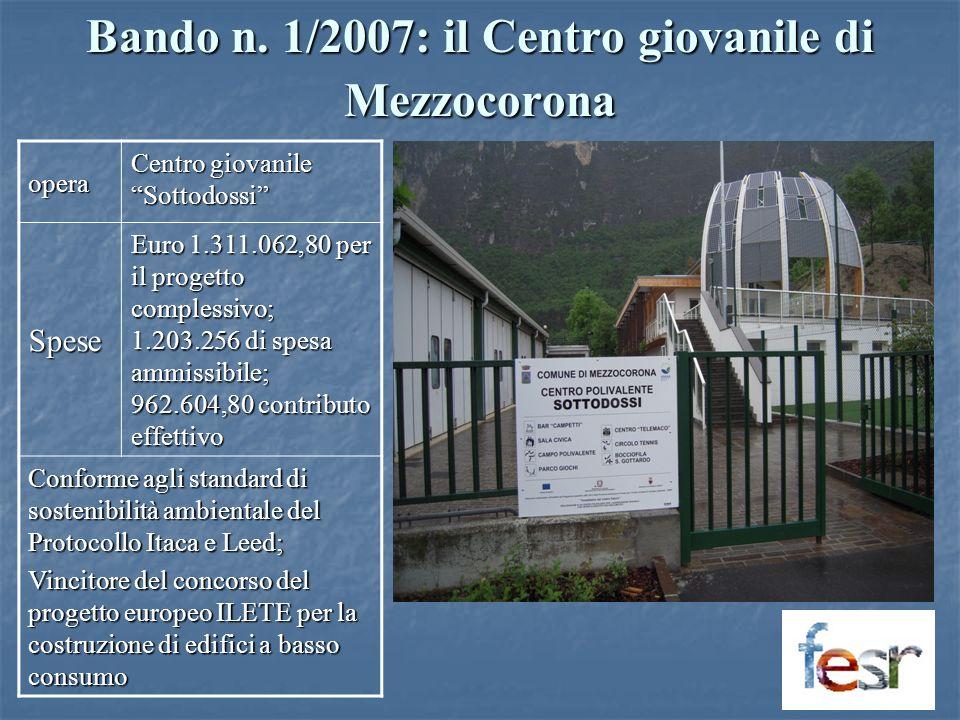 Bando n. 1/2007: il Centro giovanile di Mezzocorona opera Centro giovanile Sottodossi Spese Euro 1.311.062,80 per il progetto complessivo; 1.203.256 d