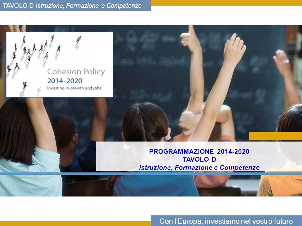 Con lEuropa, investiamo nel vostro futuro TAVOLO D Istruzione, Formazione e Competenze PROGRAMMAZIONE 2014-2020 TAVOLO D Istruzione, Formazione e Competenze