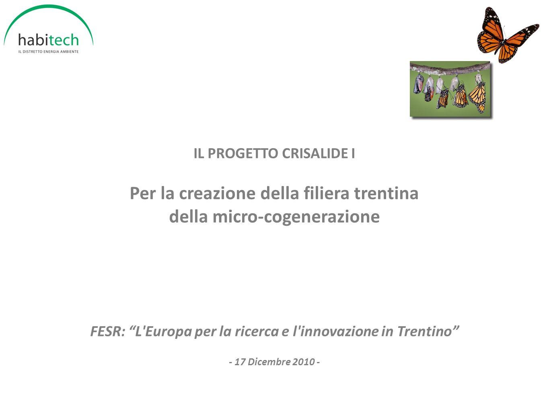 IL PROGETTO CRISALIDE I Per la creazione della filiera trentina della micro-cogenerazione FESR: L'Europa per la ricerca e l'innovazione in Trentino -
